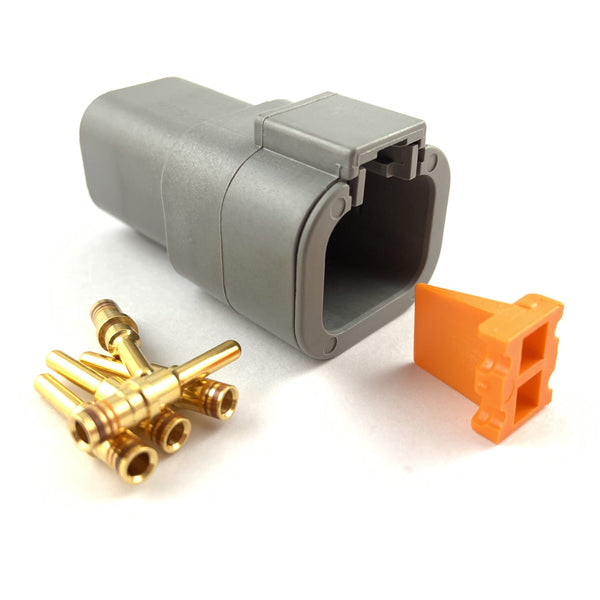 Deutsch DTP 4-Way Pin Connector Kit, 14-12 AWG Gold Contacts