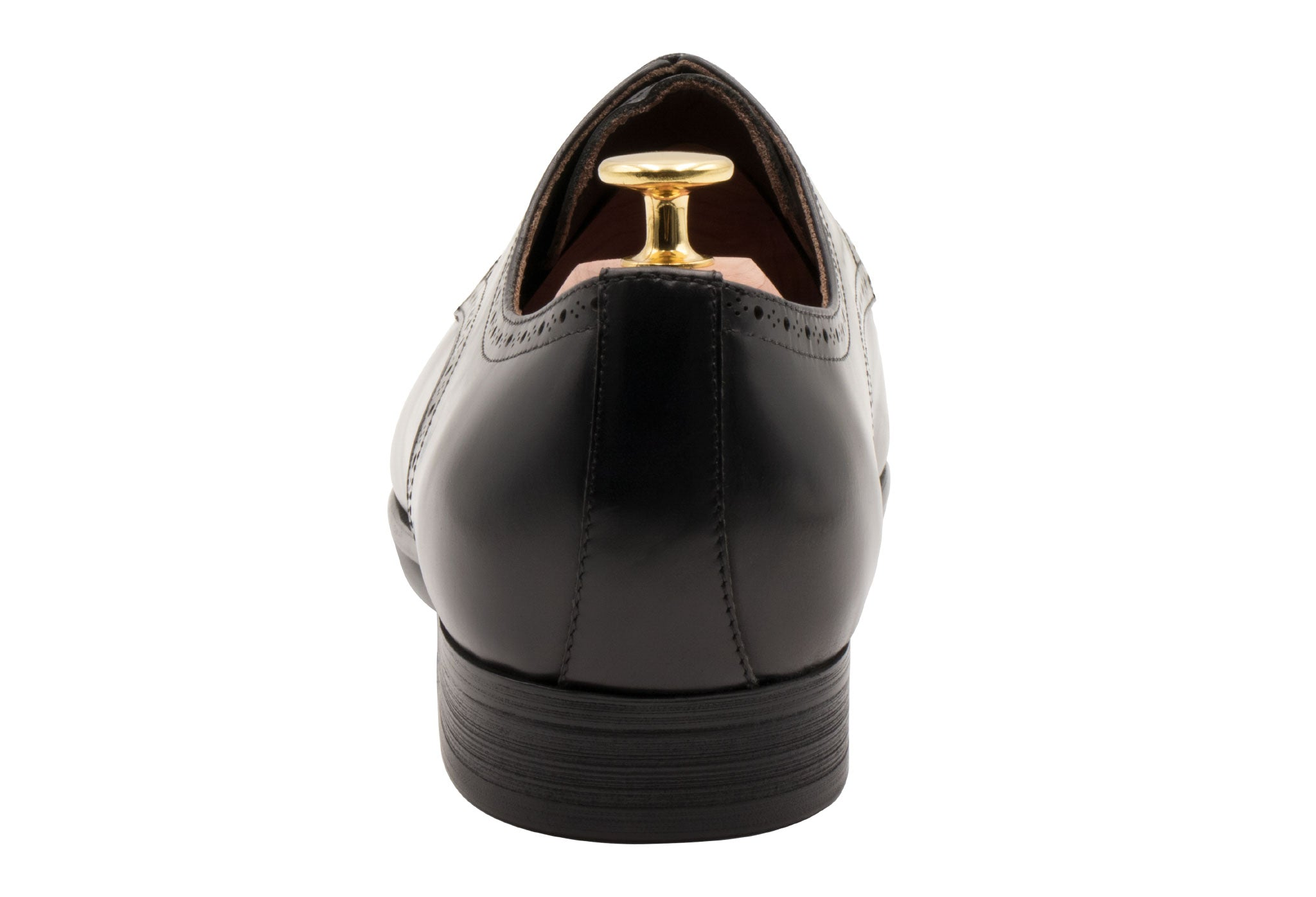 Olivos Medallion Black Derby Leather Shoes