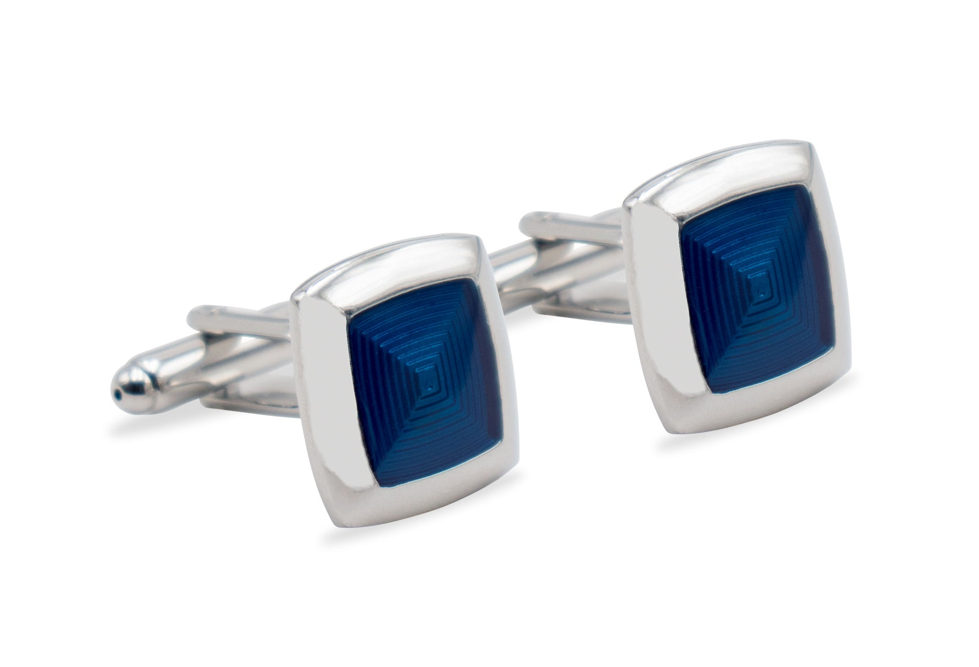 Quibor Blue Chrome Cufflink