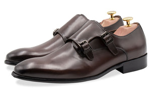 Gallegos Walnut Double Monk Leather Shoes