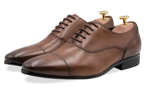 Calafate Straight Cap Chestnut Oxford Leather Shoes