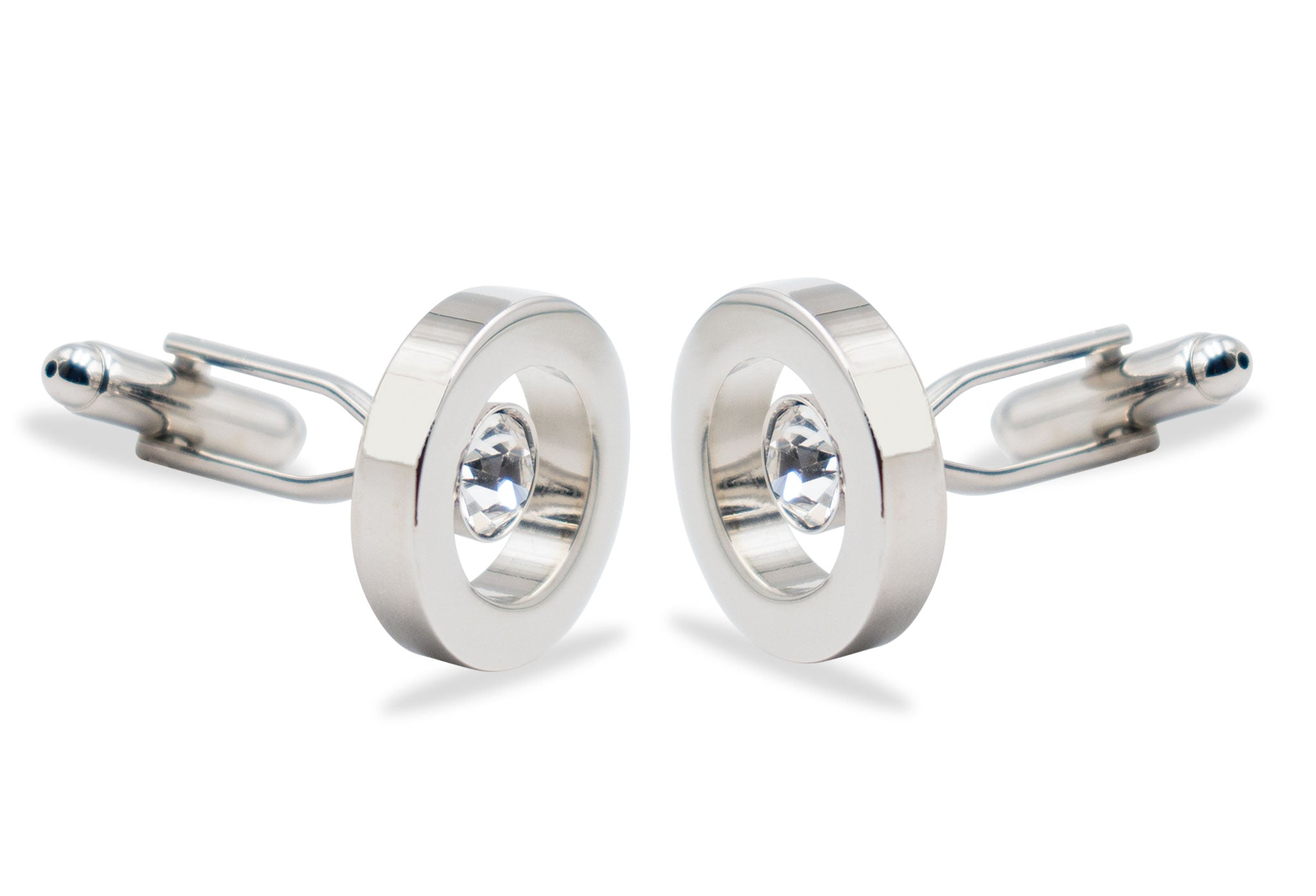 Caracas Floating Diamonte Chrome Cufflink