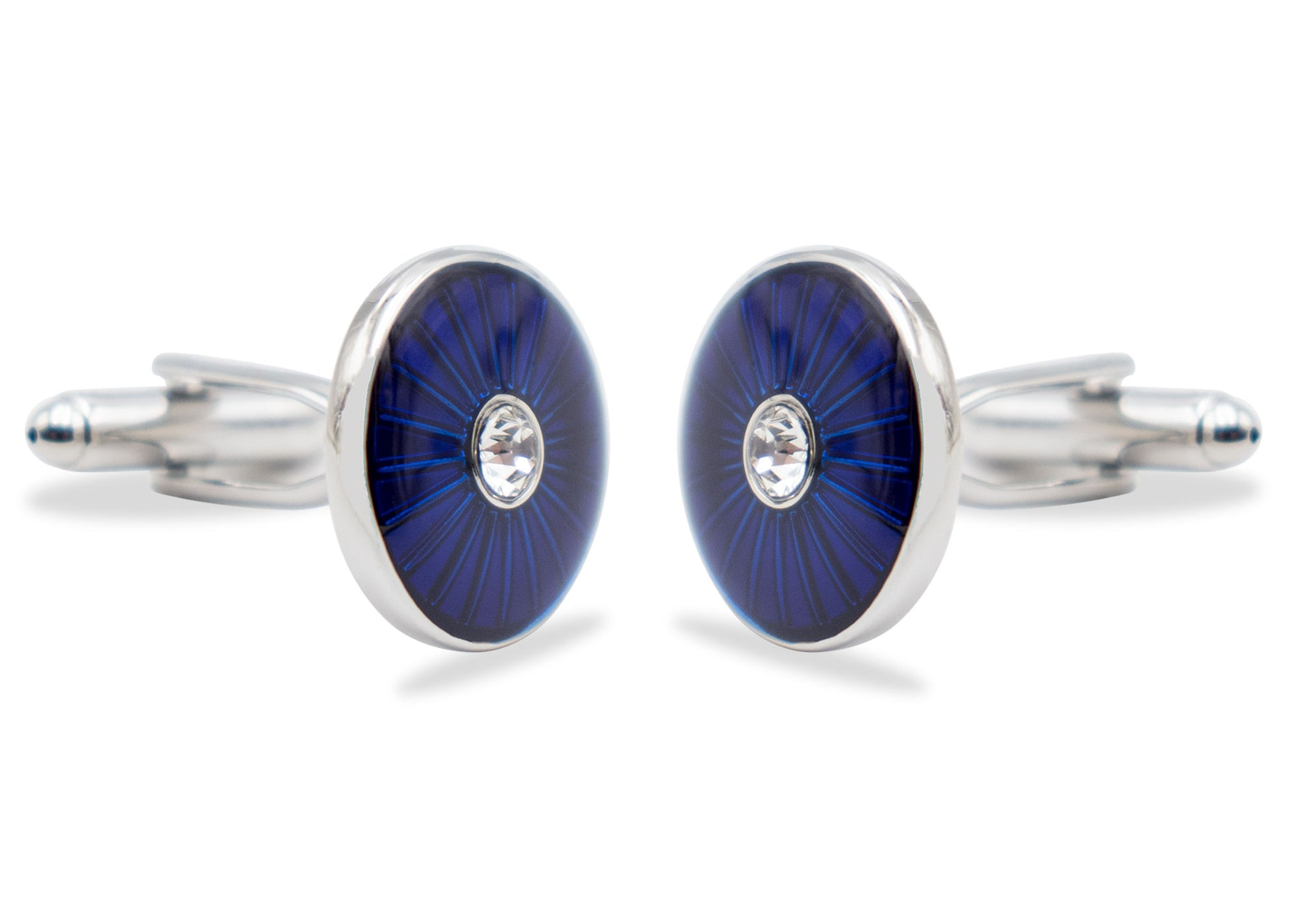 Bailadores Blue Diamonte Chrome Cufflink