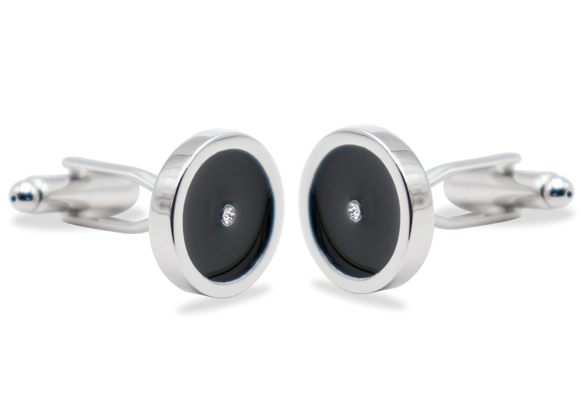 Mucuchies Chrome Black Diamonte Cufflink