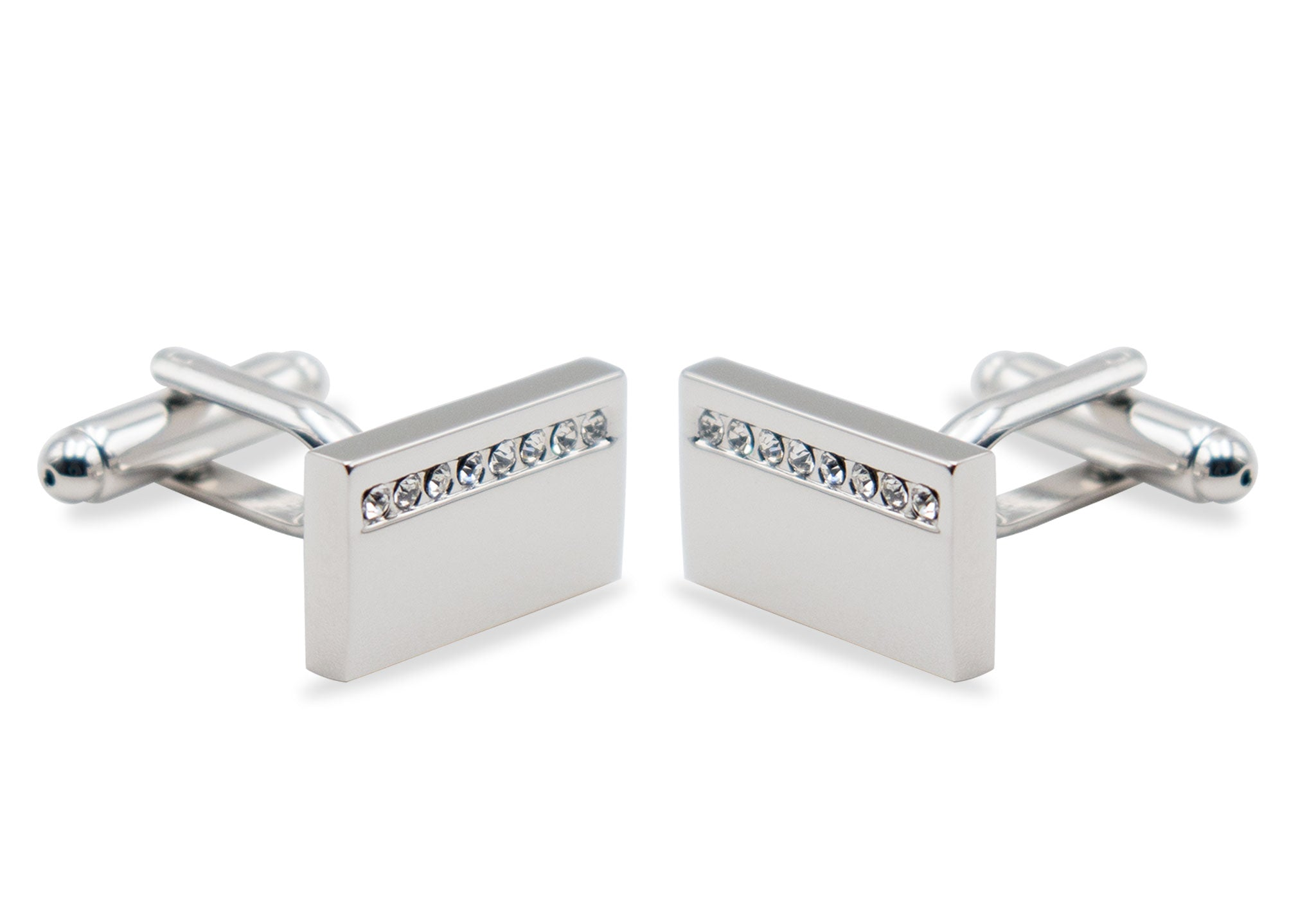 Guarenas Chrome Diamonte Cufflinks