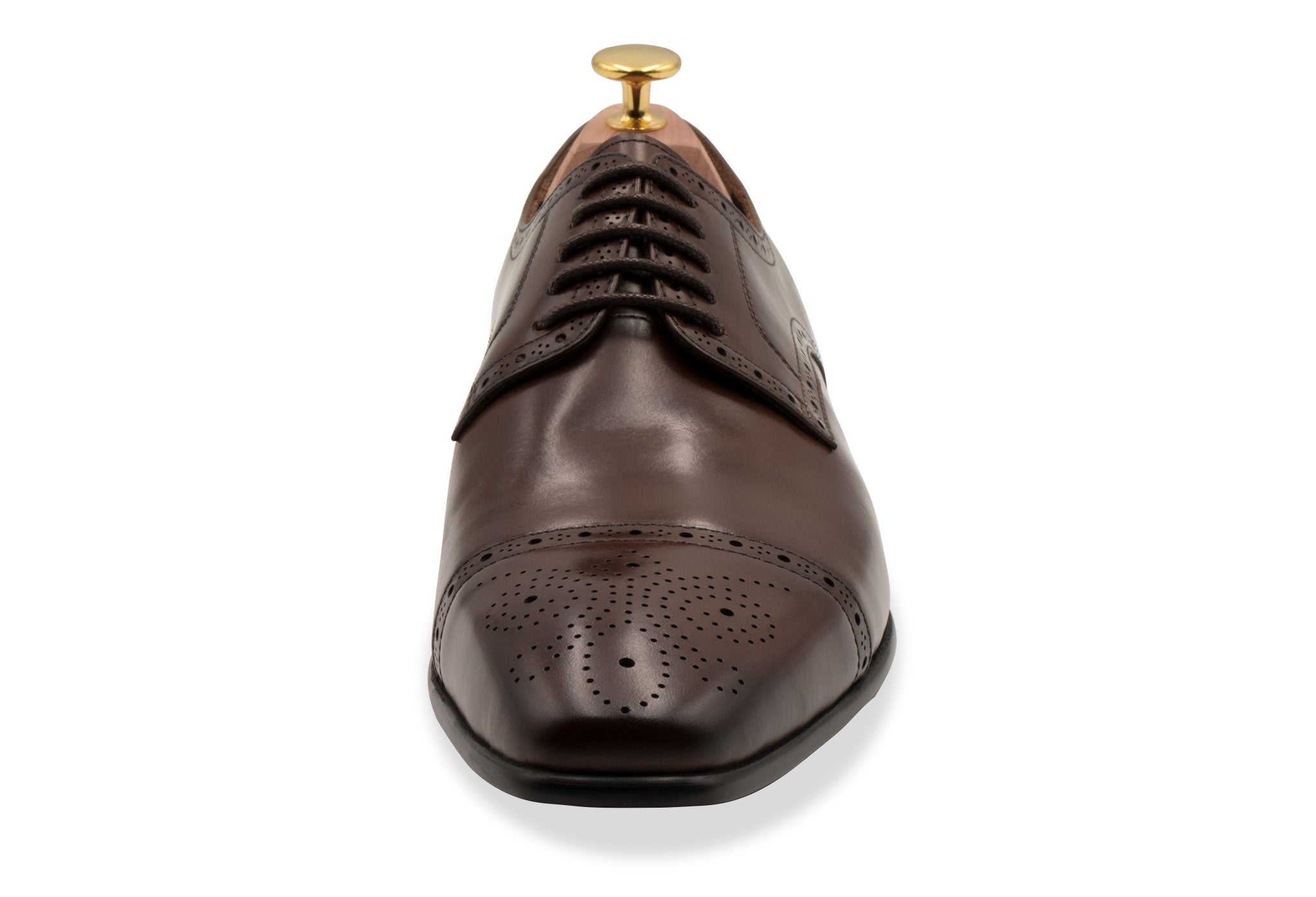 Olivos Medallion Pecan Derby Leather Shoes