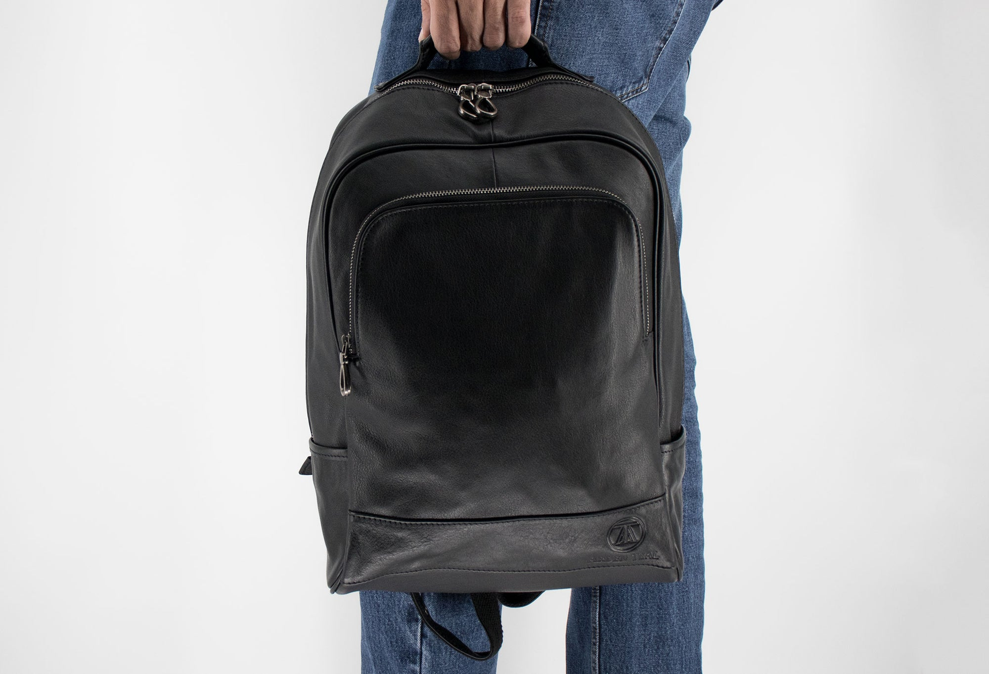 Sevilla Black Leather Backpack