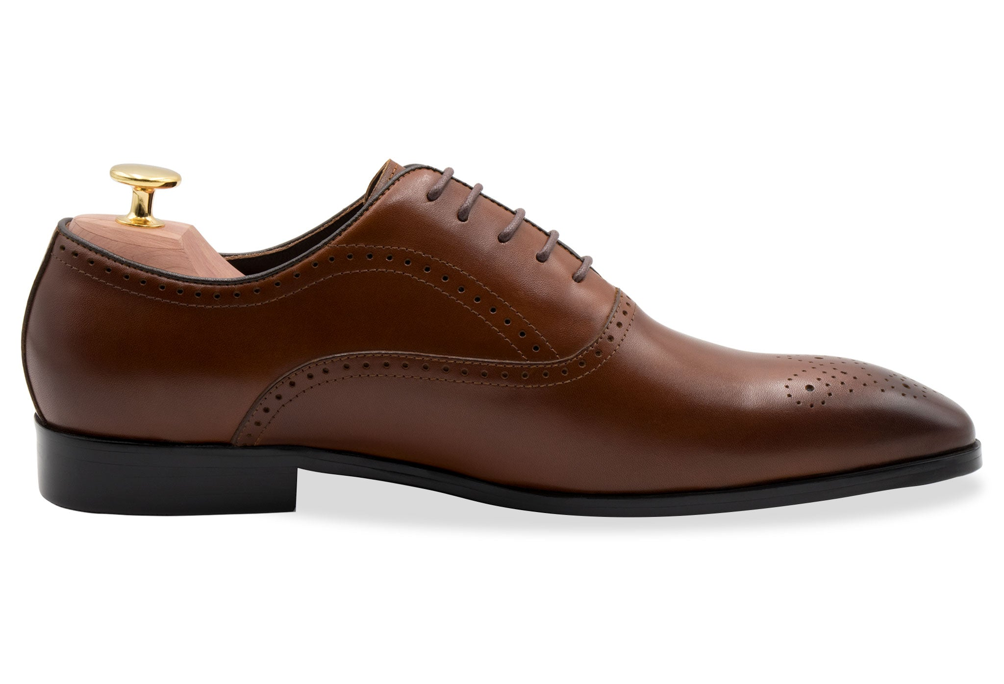 Mendoza Medallion Chestnut Oxford Leather Shoes