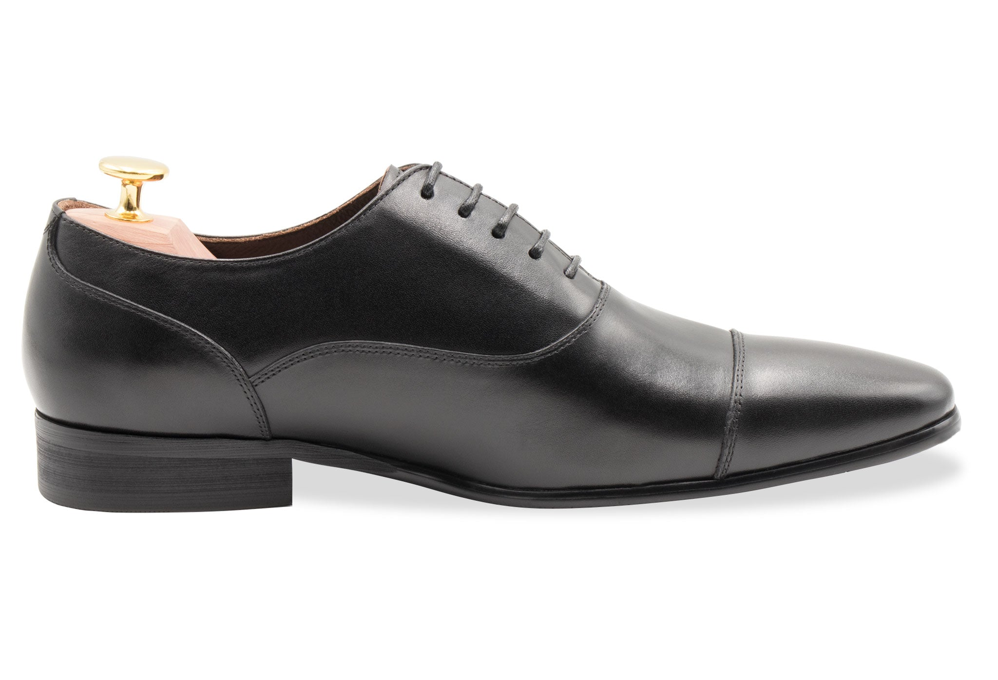 Calafate Straight Cap Black Oxford Leather Shoes