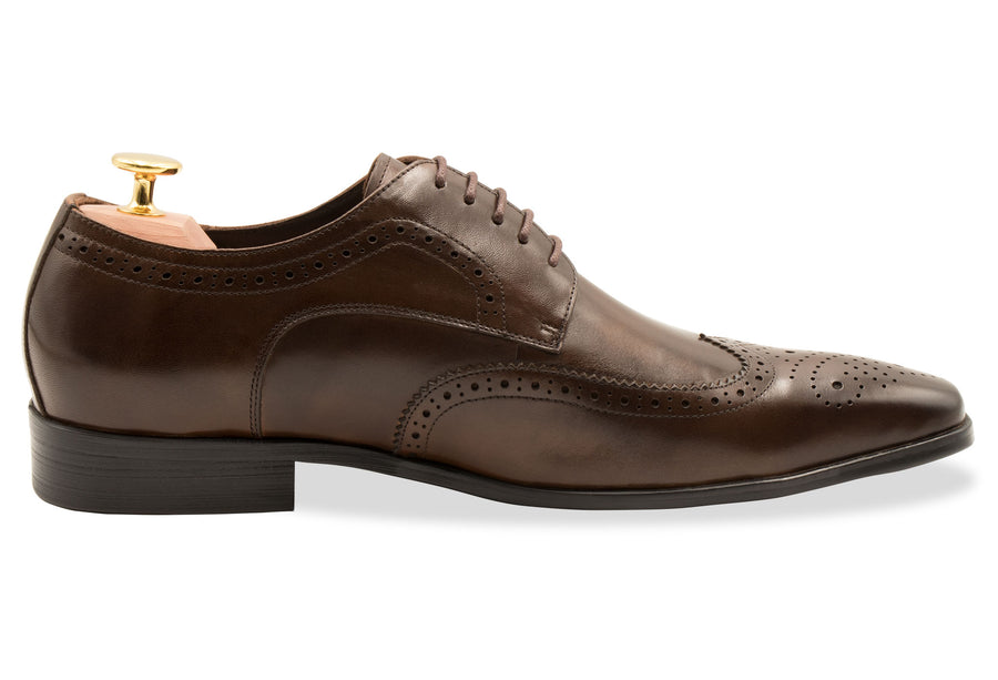 Caseros Wingtip Walnut Derby Leather Shoes