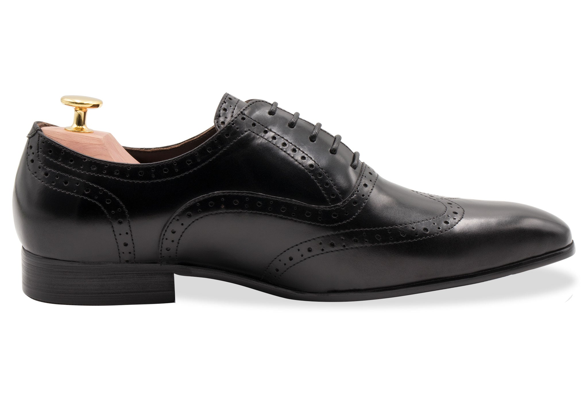 Rosario Wingtip Black Oxford Leather Shoes