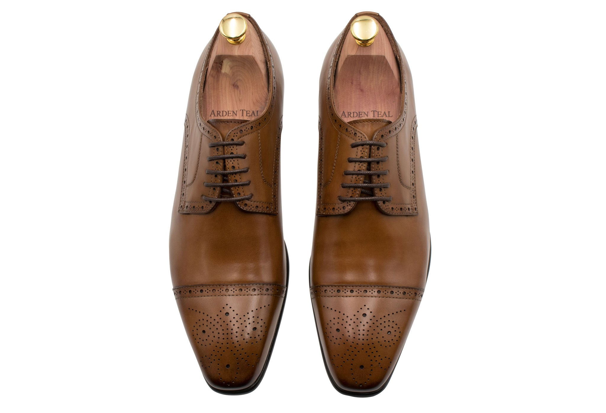 Olivos Medallion Chestnut Derby Leather Shoes