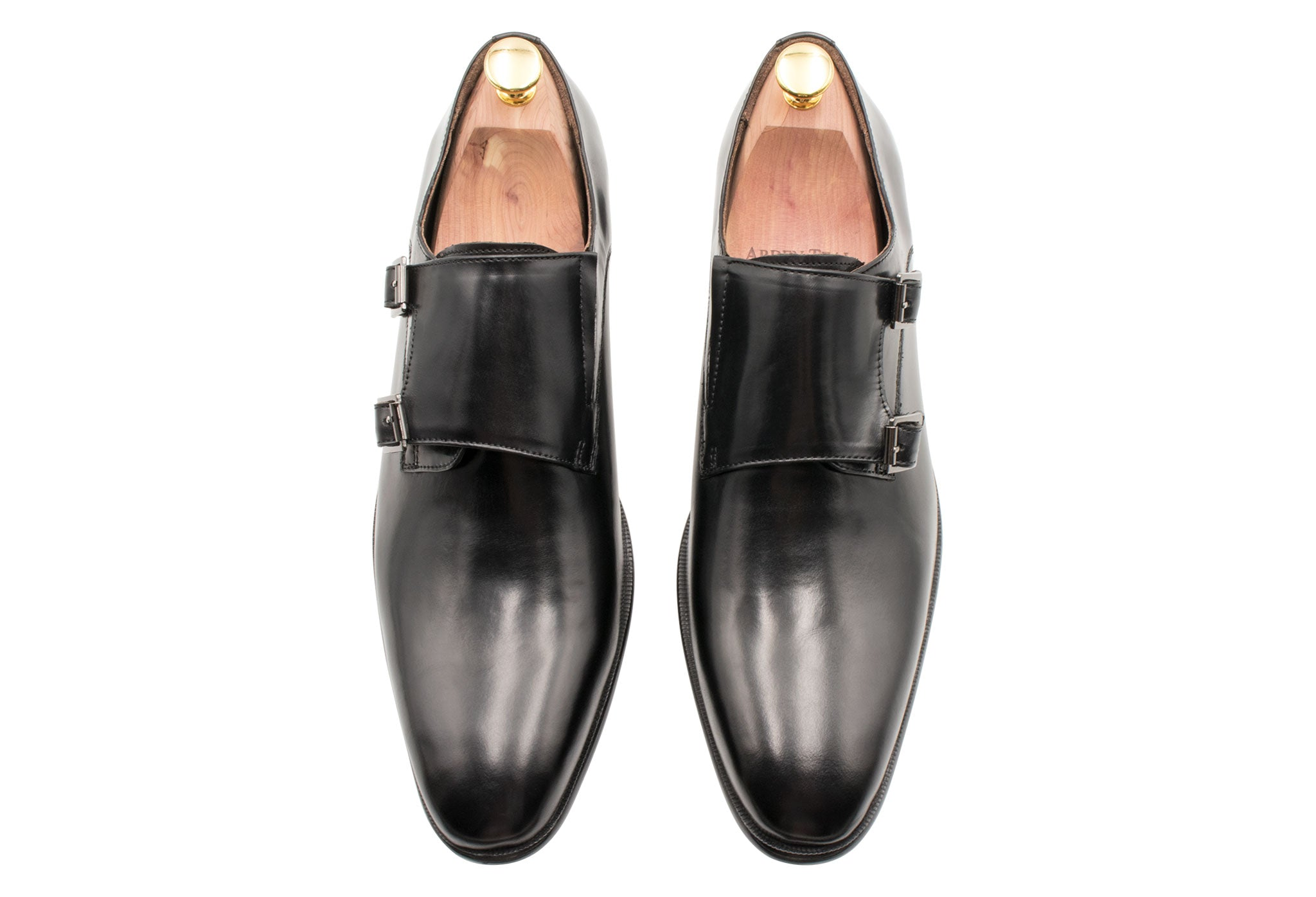 Gallegos Black Double Monk Leather Shoes