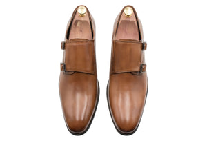 Gallegos Chestnut Double Monk Leather Shoes