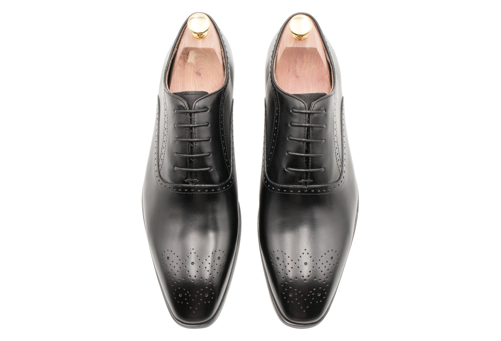 Mendoza Medallion Black Oxford Leather Shoes