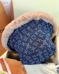 Designer Winter Warm Fluffy LV Faux Fur bucket Hat Cap