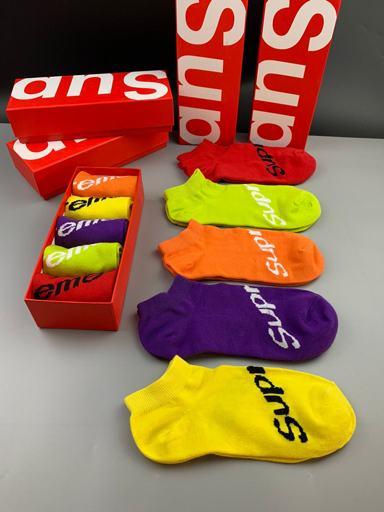 5 pair Supreme Designer Luxury Ankle Socks
