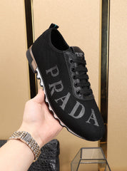 Prada- casual walking men/women luxury designer shoes -white