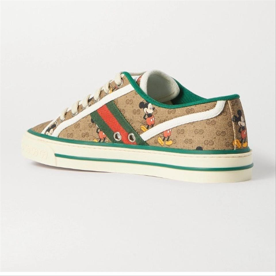 Disney x Gucci Vulcan Mickey GG Canvas Sneakers, Brown,