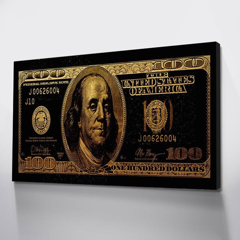 100 Dollar Gold Modern Money Canvas Art Paintings