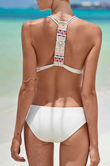 Simple Plunged Monokini One Piece Swimsuit in White