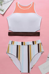 Color Panel Striped Racerback Cutout Crop Bikini Swimsuit in White