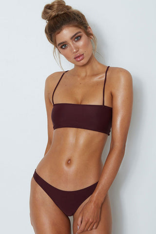 Crisscross Straps Back Bandeau Bralette Bikini Swimsuit in Burgundy