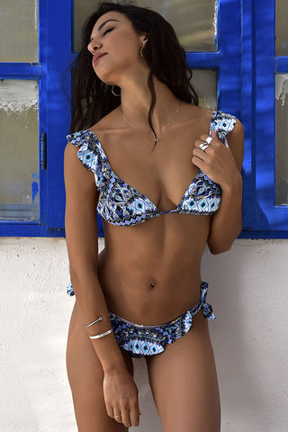 Ethnic Printed Ruffle Sliding Triangle Bikini Swimsuit in Blue