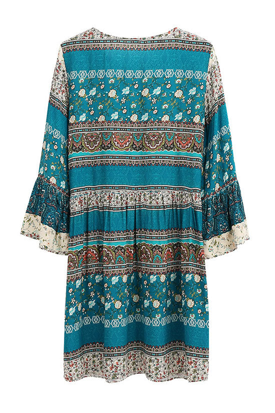 Flare Sleeve Lace Up Mini Floral Printed Skater Dress in Lake Blue
