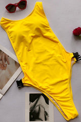 High Cut Buckle Racerback Thong One Piece Swimsuit in Yellow
