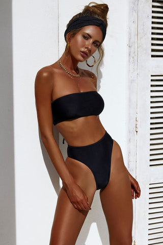 High Cut High Waist Bandeau Bikini Swimsuit in Black