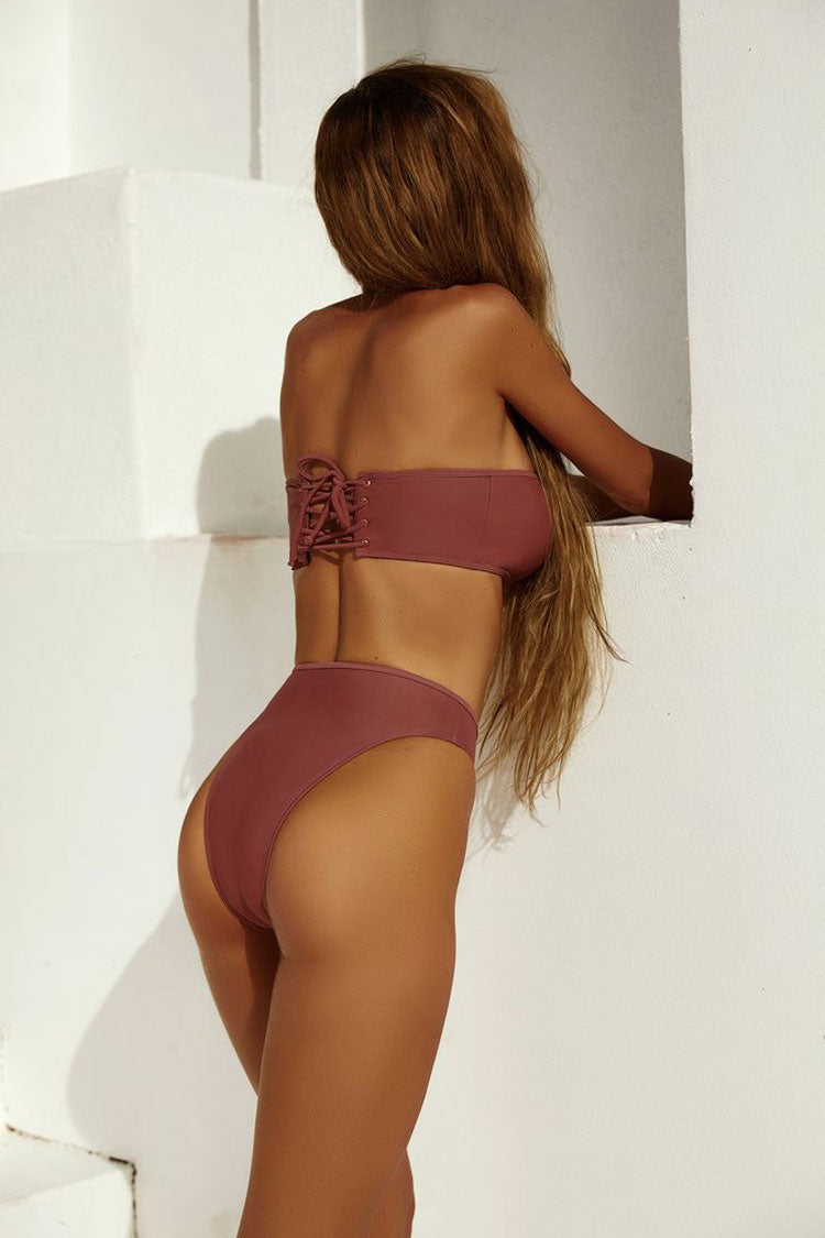 High Cut High Waist Bandeau Bikini Swimsuit in Dark Pink