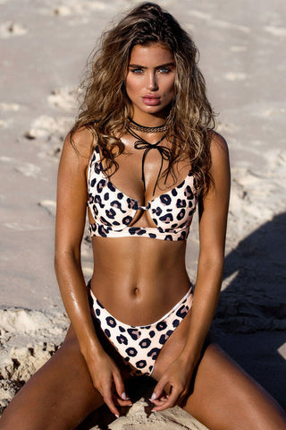 High Cut High Waist Underwire Bikini Swimsuit in Leopard