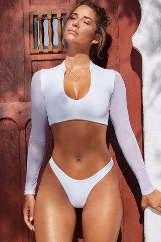 High Cut Long Sleeves Crop Bikini Swimsuit in White