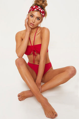 High Cut High Waist Ruched Bandeau Brazilian Bikini Swimsuit in Red