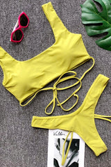High Cut Strappy Thong Crop Bikini Swimsuit in Yellow