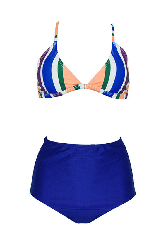 High Waist Colorful Striped Triangle Bikini Swimsuit in Blue