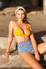 High Waist Floral Clasp Front Triangle Bikini Swimsuit in Yellow