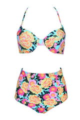High Waist Floral Underwire Bikini Swimsuit in Multicolor