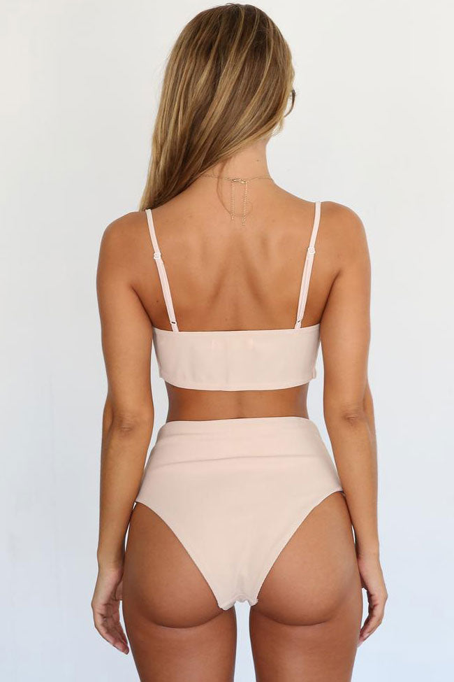 High Waist Knotted Front Ribbed Bikini Swimsuit in Apricot