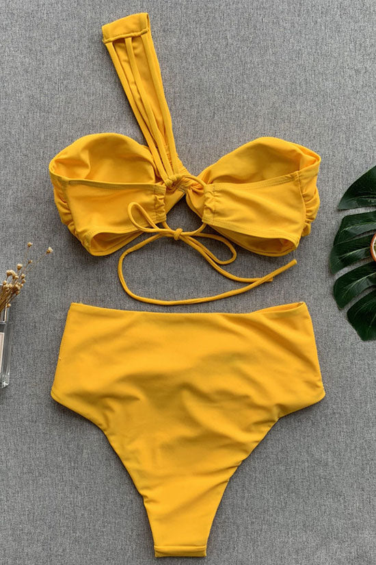 High Waist Twist One Shoulder Bikini Swimsuit in Yellow