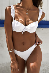 Knotted Front Ruffle Underwire Bikini Swimsuit in White