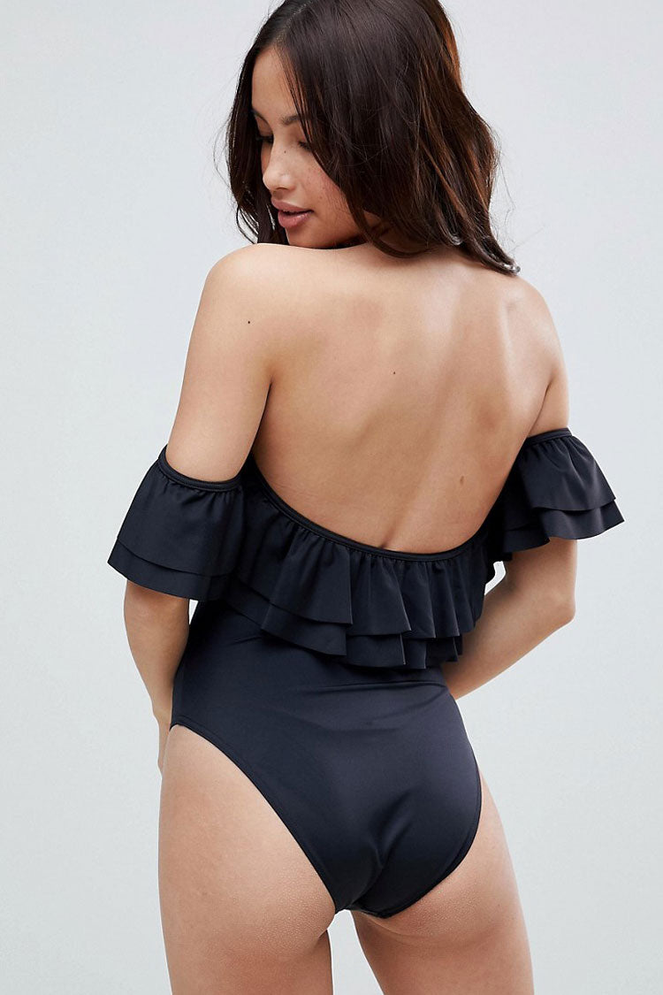 Layered Ruffle Off Shoulder One Piece Swimsuit in Black