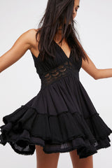 Low Back Crochet Ruffle Tiered Mini Dress in Black