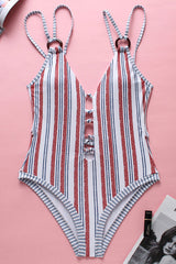 Low Back Deep V Neck One Piece Swimsuit in Striped