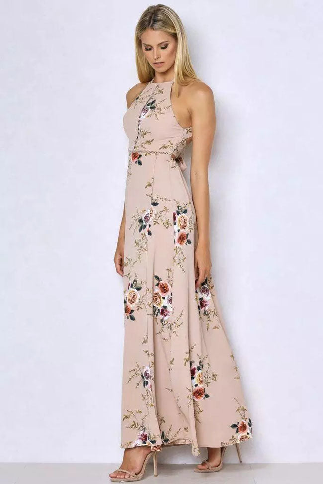 Low Back Floral Printed Split Maxi Beach Dress in Pink