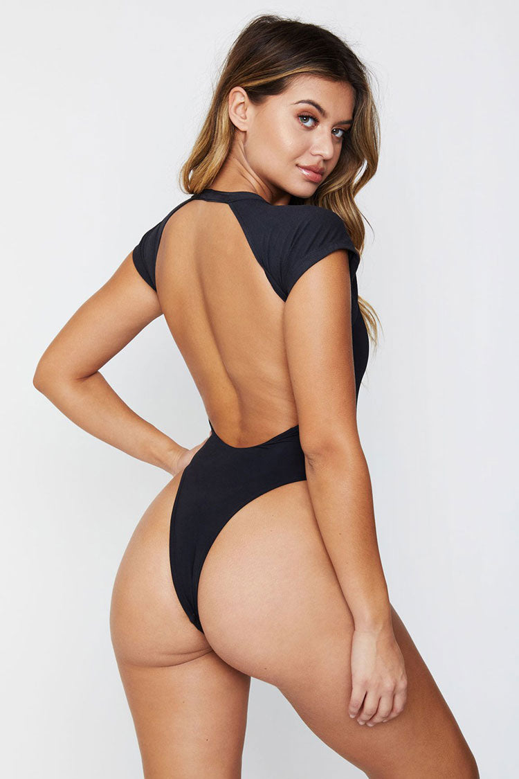 Low Back High Cut Short Sleeves One Piece Swimsuit in Black