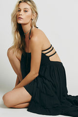 Low Back Shirred Tiered Ruffle Flare Maxi Dress in Black