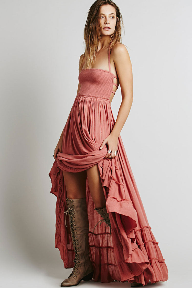 Low Back Shirred Tiered Ruffle Flare Maxi Dress in Pink
