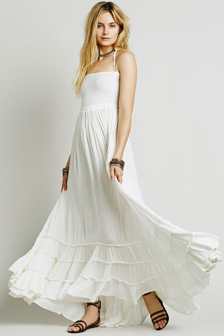8ec89438c9 Low Back Shirred Tiered Ruffle Flare Maxi Dress in White – Mode Cute